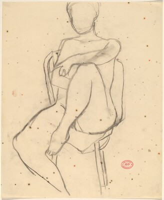 Untitled [seated female nude with left arm resting on knee]