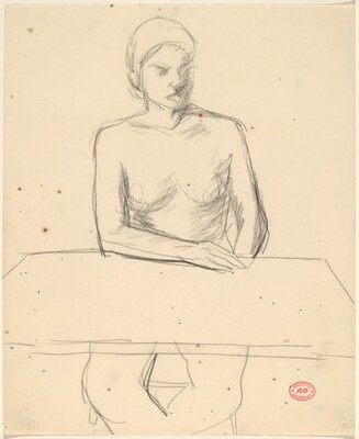 Untitled [woman seated at tabletop]