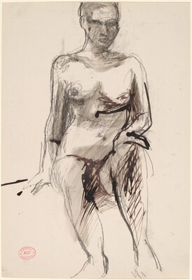 Untitled [seated female nude with hand on left knee]