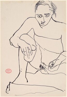 Untitled [seated female nude holding cup in right hand]