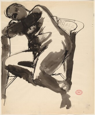 Untitled [seated female nude leaning against chair]