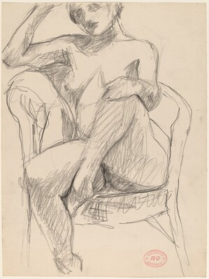 Untitled [nude seated with her left foot in chair seat]