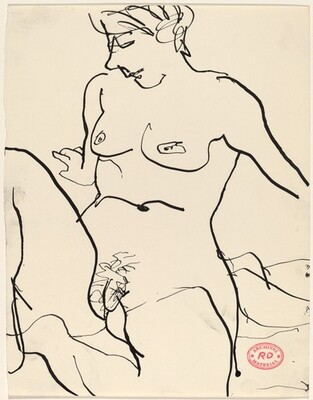 Untitled [nude seated on floor with hands behind her]