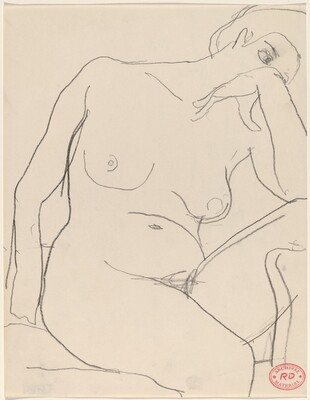 Untitled [seated female nude leaning right]