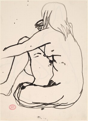 Untitled [side view of seated female nude] [recto]