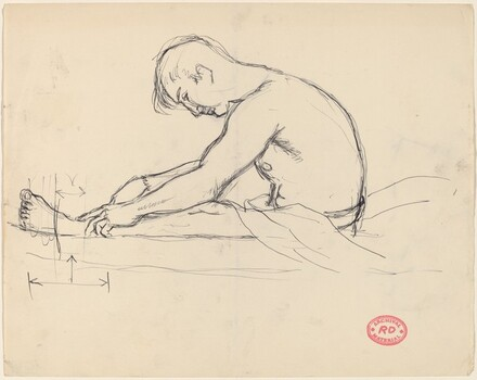 Untitled [side view of a seated man reaching for his ankles]