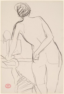 Untitled [standing female nude leaning on chair arm]