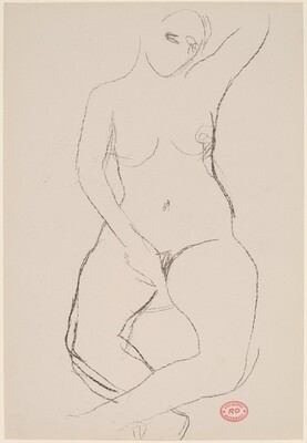 Untitled [seated female nude with left arm raised]