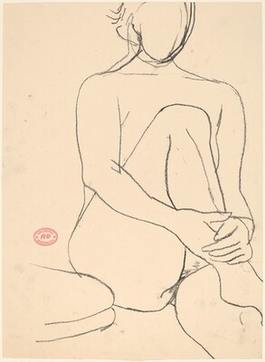 Untitled [seated female nude with leg drawn to chest] [recto]