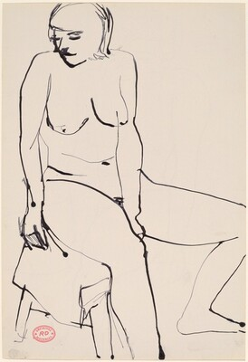 Untitled [seated female nude looking left] [recto]