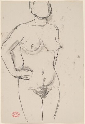Untitled [standing female nude with hands on hips]