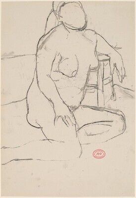 Untitled [seated nude female model leaning on stool]