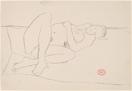 Untitled [female nude reclining on a spread blanket]