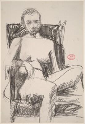 Untitled [female nude in a dark armchair]