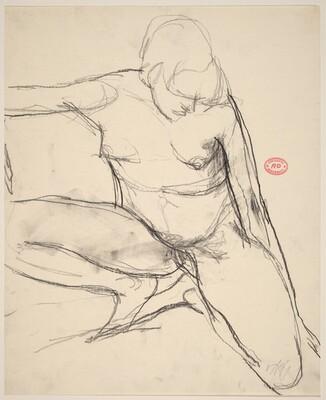 Untitled [kneeling female nude looking down]