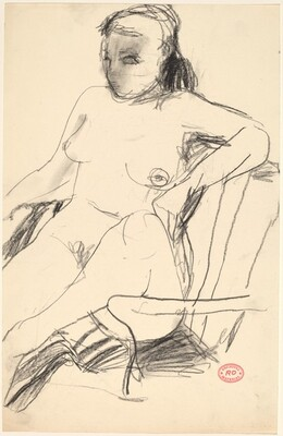 Untitled [seated nude with her leg pulled into an armchair]