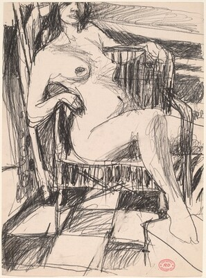 Untitled [female nude seated in an armchair on a tile floor]