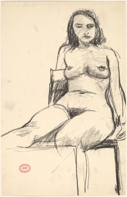 Untitled [seated nude with right leg raised]