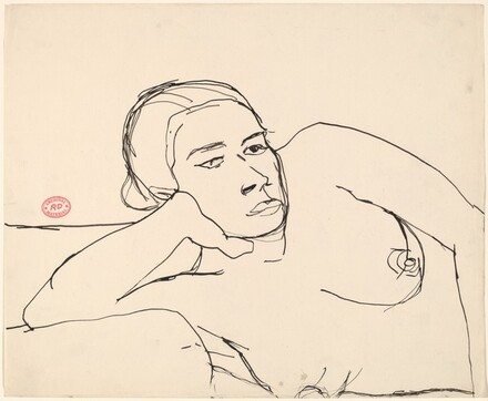 Untitled [nude on her side resting her head on her right hand]