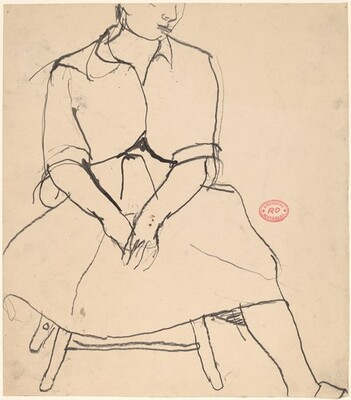 Untitled [woman in a shirt and skirt seated on a stool]
