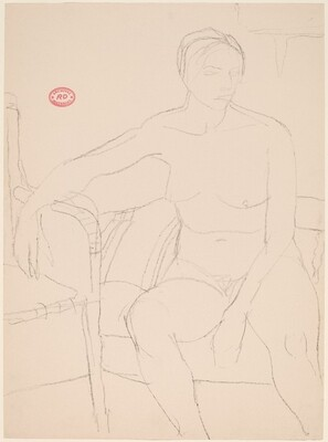 Untitled [seated nude resting her right arm on an adjacent chair]