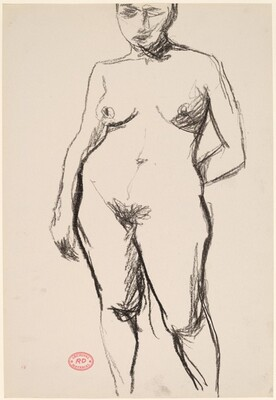 Untitled [standing nude with her left arm held behind her back]