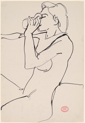 Untitled [female nude seated and drinking]