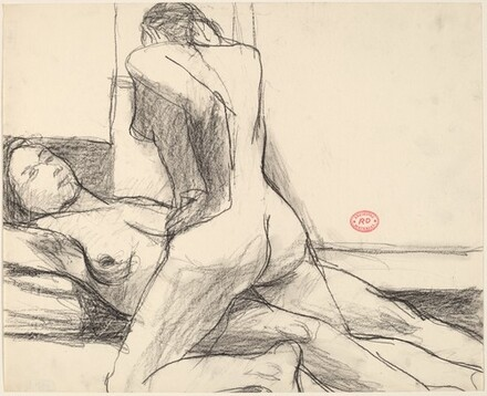 Untitled [two female nudes, one kneeling, another reclining]
