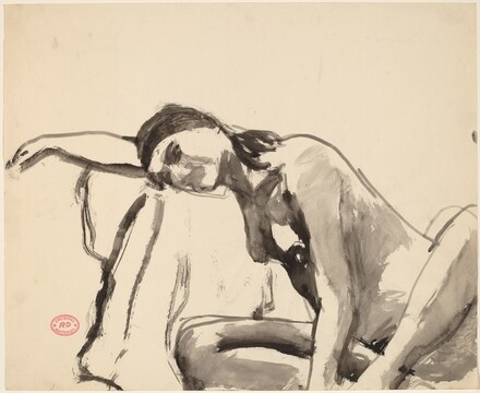 Untitled [seated nude resting her head and arm on a draped stand]