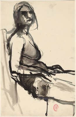 Untitled [side view of seated woman]
