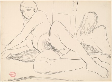 Untitled [reclining female nude reflected in a mirror]