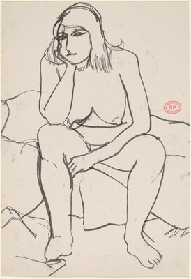 Untitled [seated nude resting her head on her right hand]