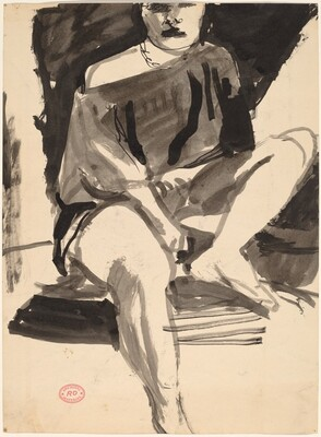 Untitled [seated figure with bare shoulder] [recto]