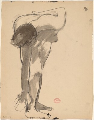 Untitled [standing female nude reaching down with her right hand]