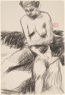 Untitled [seated female nude holding her elbow]