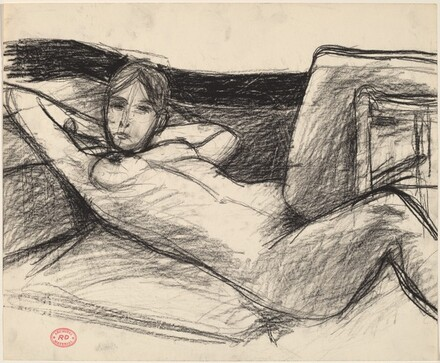 Untitled [reclining nude with hands behind head]