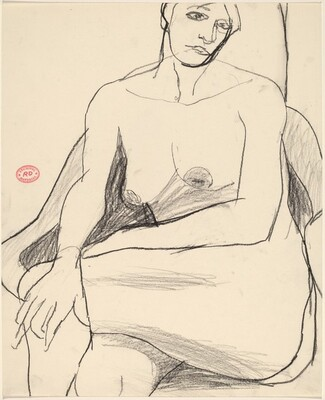 Untitled [seated nude with her hand on her left knee]