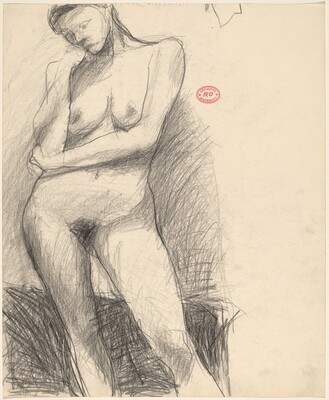 Untitled [standing nude resting her head on her right hand]