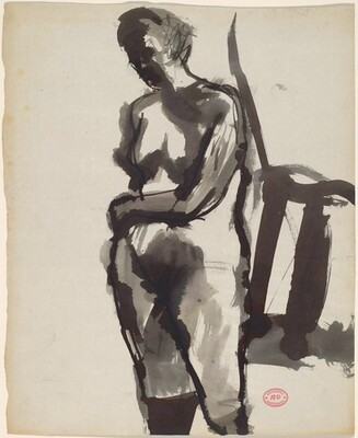 Untitled [standing nude resting her arm on her belly]