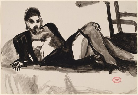 Untitled [woman reclining in a dark outfit]
