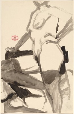 Untitled [standing nude resting her knee on a support]