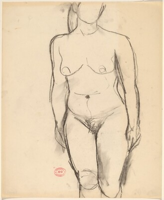 Untitled [standing nude with arms at her sides]