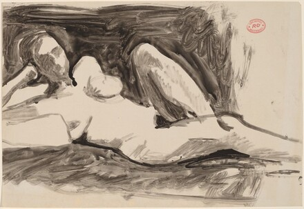 Untitled [reclining nude resting her head on her right hand]