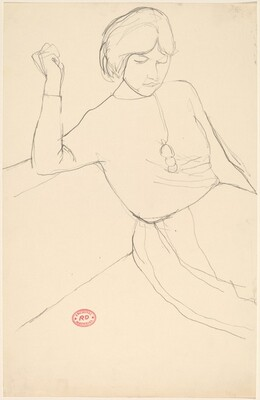 Untitled [woman with short hair on a sofa]