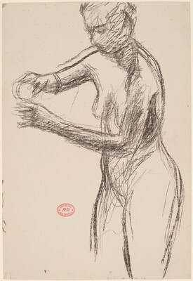 Untitled [standing female nude manipulating a small object]