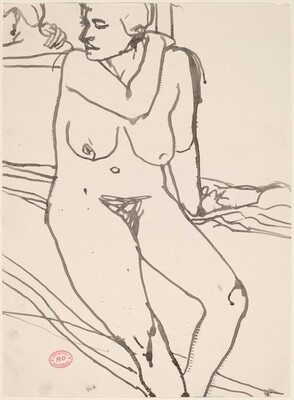Untitled [woman reclining in undergarments]