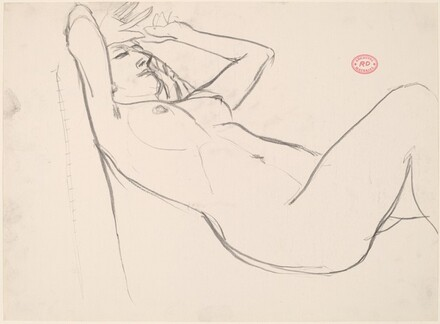 Untitled [reclining nude with her hands drawn to her forehead]