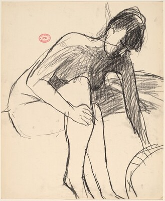 Untitled [seated nude with crossed legs reaching down]