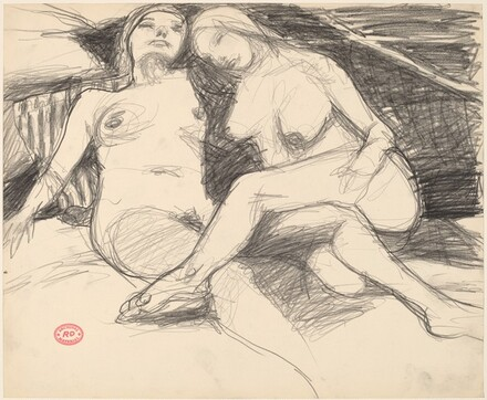 Untitled [two reclining female nudes with a striped pillow]