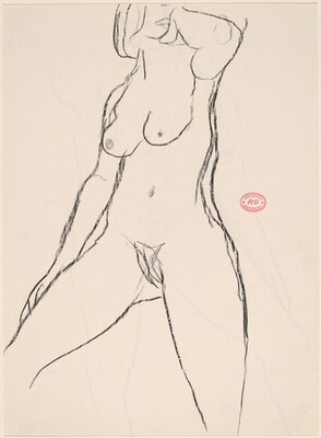 Untitled [standing nude with her left hand under her chin] [recto]